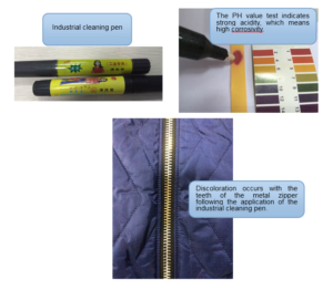 Industrial cleaning pen, PH value test and discoloration of the teeth of the metal zipper