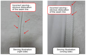 Seam dislocation at the right and wrong side