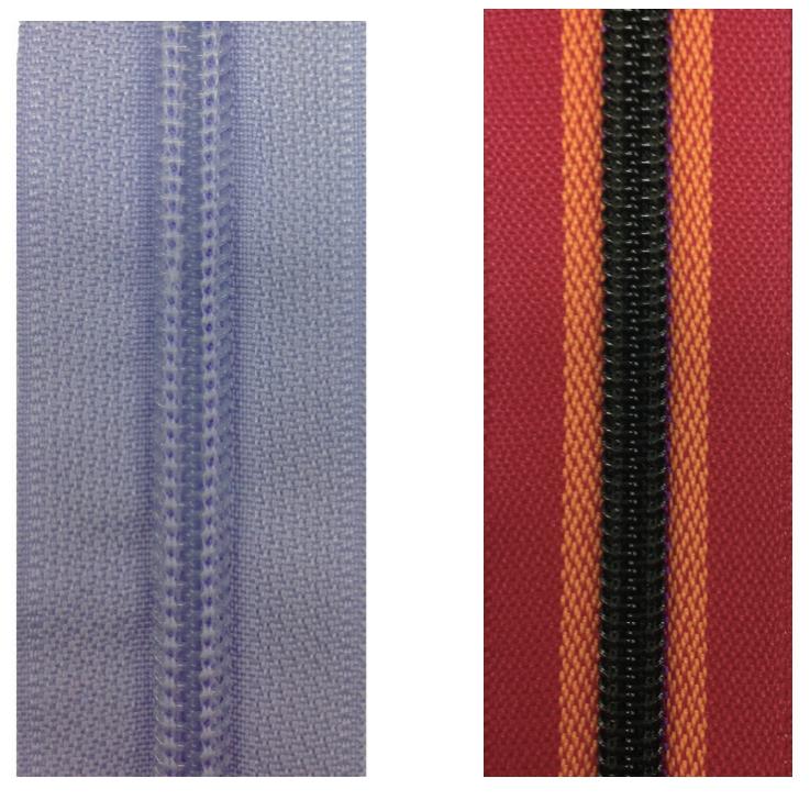 nylon coil zippers-polyester fiber tape vs. mixed-color tape