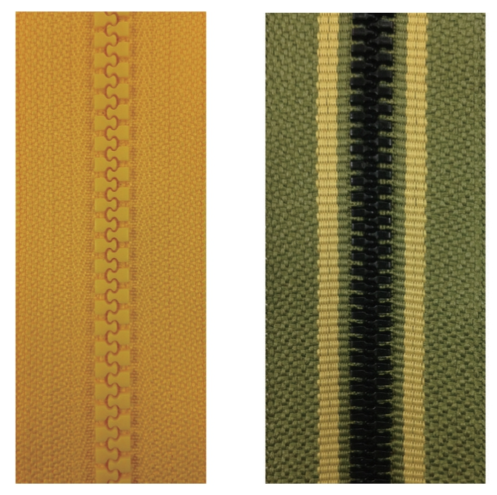 plastic zippers-polyester fiber tape vs. mixed-color tape
