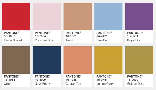 Pantone Top 10 Fashion Colors for London