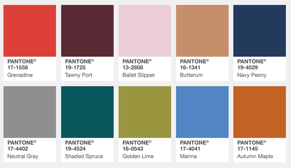 Pantone Top 10 Fashion Colors for New York