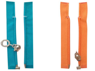 nylon separating zippers with left & right-sided insertion pins