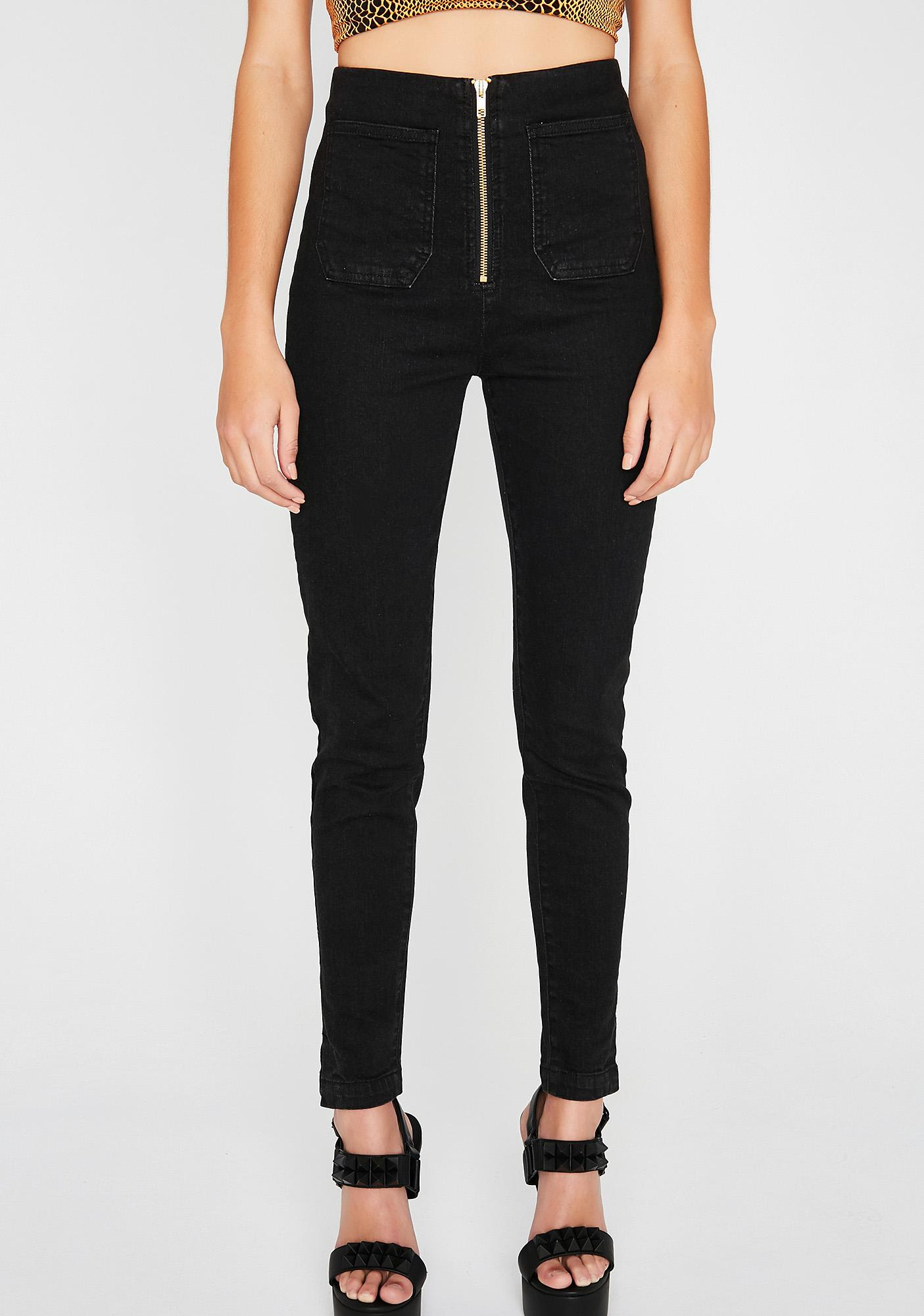 Exposed Zipper Fly Jeans