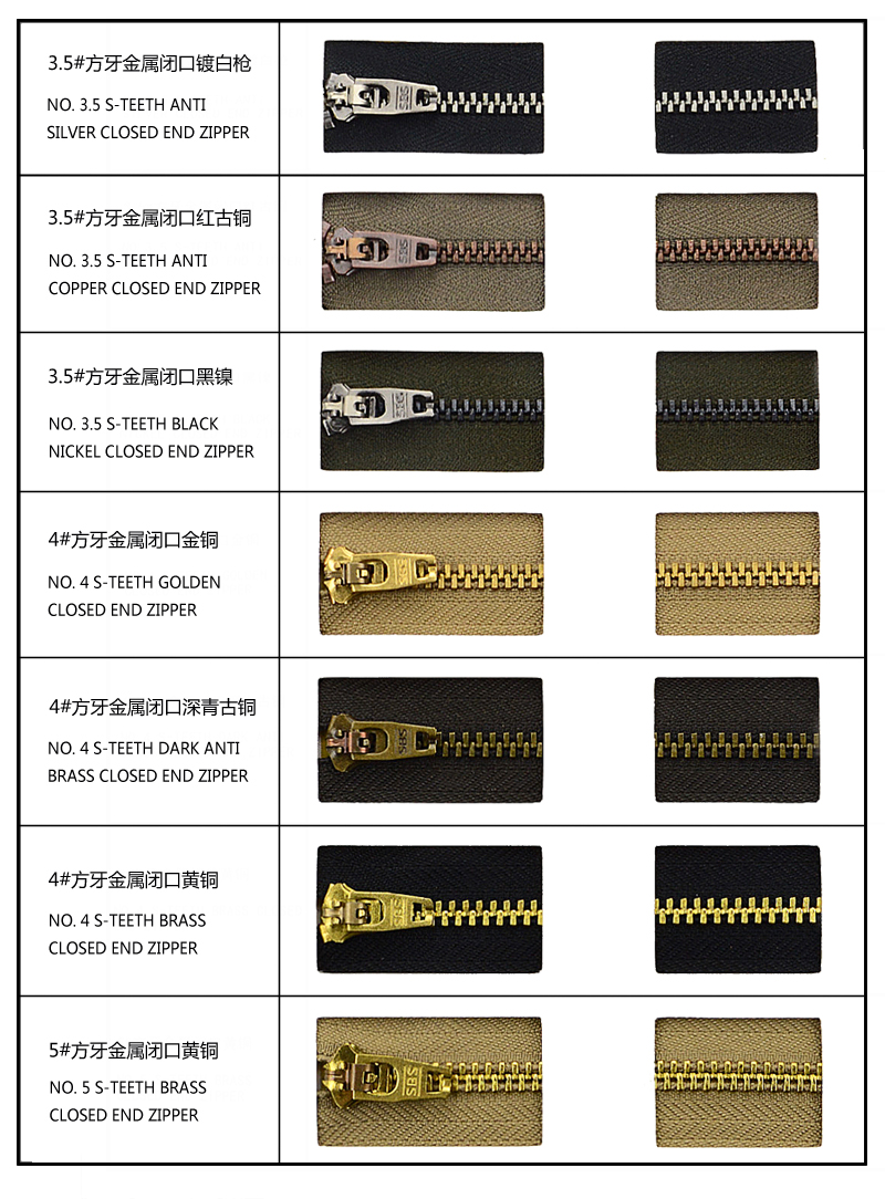 Standard Teeth Color for Jeans Zipper