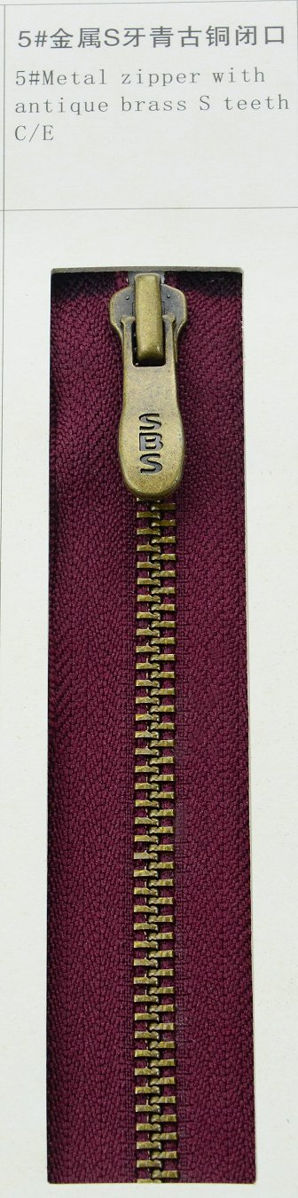 5#Metal zipper with antique brass S teeth | SBS Zipper