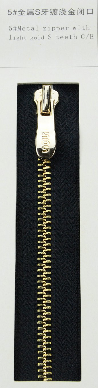 5#Metal zipper with light gold S teeth | SBS Zipper