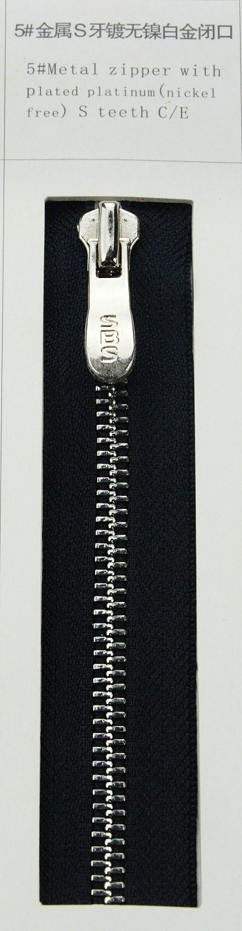 5#Metal zipper with plated platinum (nickel free) S teeth | SBS Zipper