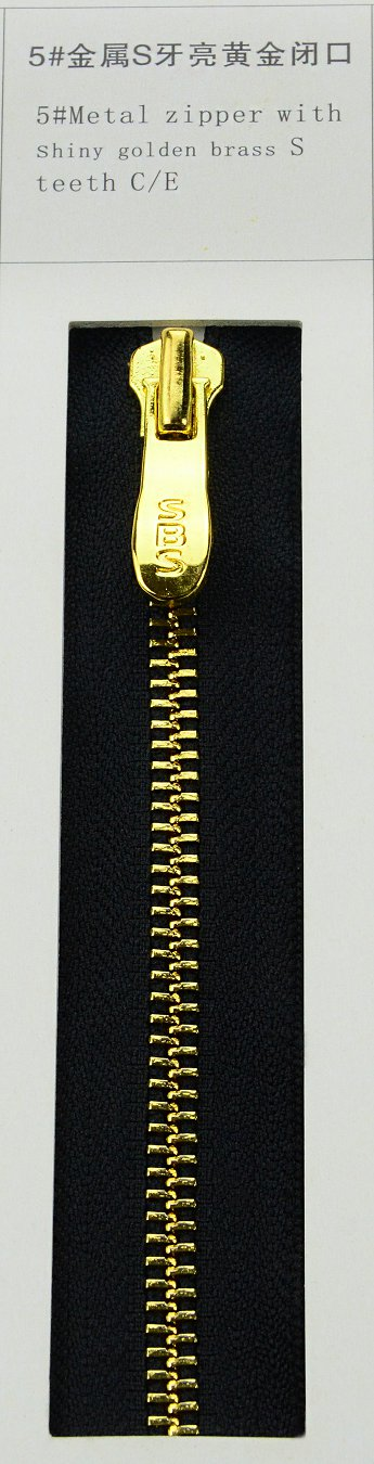 5#Metal zipper with shiny golden brass S teeth | SBS Zipper