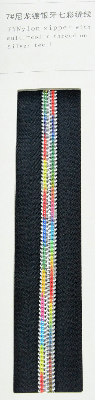 7#Nylon zipper with multi-color thread on silver teeth