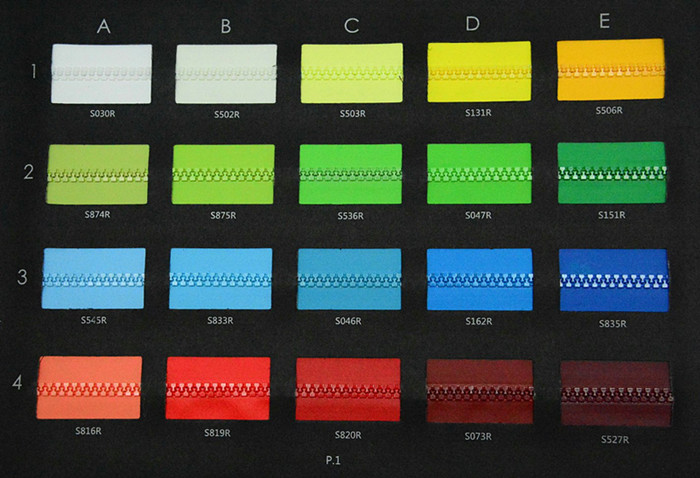 Plastic Water Repellet Zipper DYT Color Card P1 | SBS Zipper