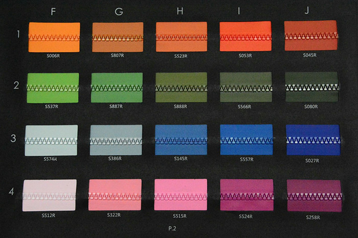 Plastic Water Repellet Zipper DYT Color Card P2 | SBS Zipper