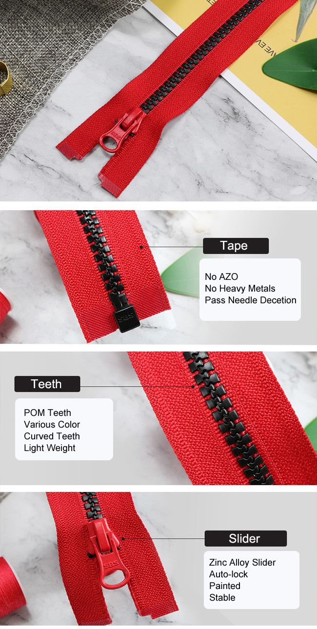 Light Plastic Zipper With Curved Teeth manufacturer