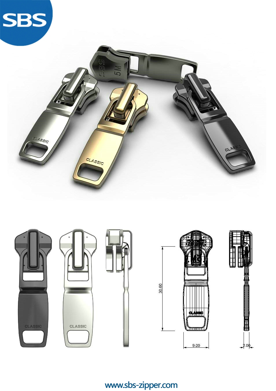 Metal Zipper Pulls & Brass Zipper Pulls | SBS Zipper