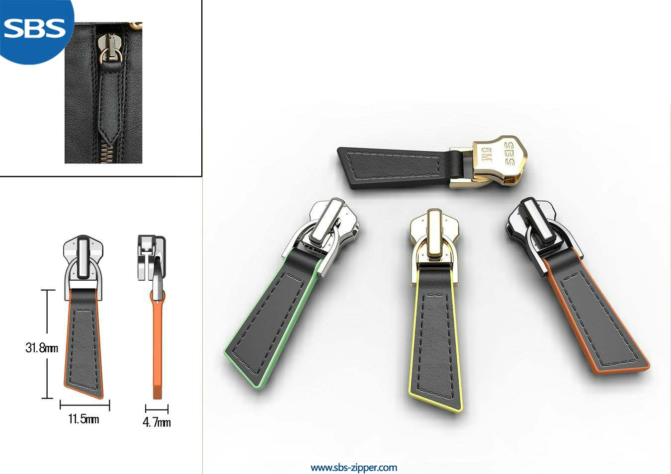 Leather Zipper Pulls Manufacturer 16ASB035 | SBS Zipper