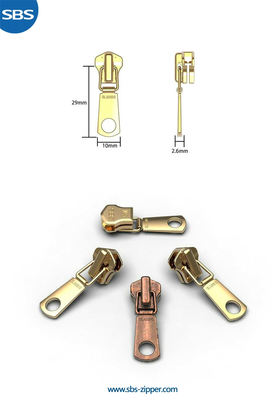 Brass Zipper Pulls Supplier 16AWC003 | SBS Zipper