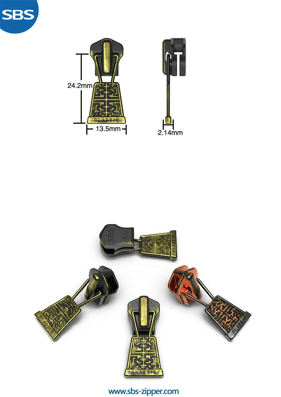 Custom Metal Zipper Pulls Manufacturer 16AWC012 | SBS Zipper