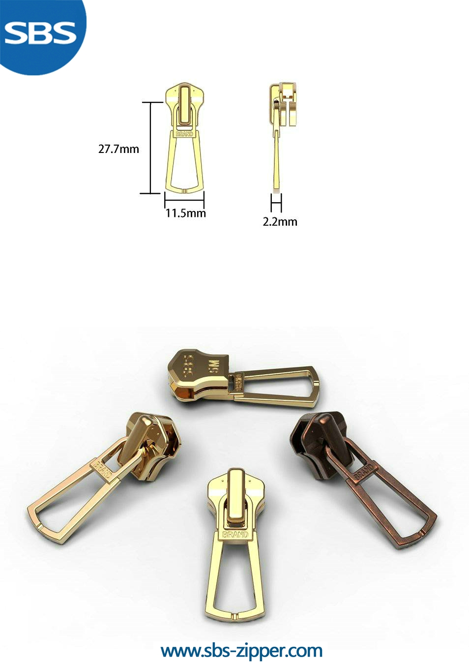 Brass Zipper Pulls Manufacturer 16AWC015 | SBS Zipper