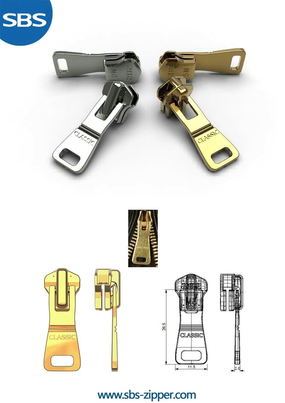 Brass Zipper Pulls Supplier 16SMC003 | SBS Zipper
