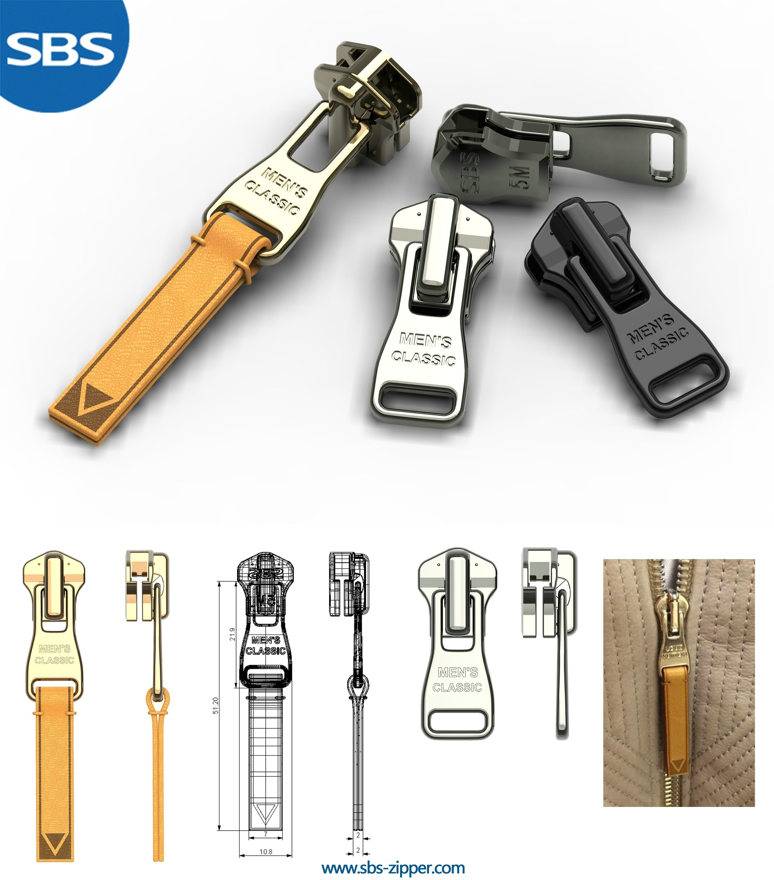 Leather Zipper Pulls Supplier 17SMC009 | SBS Zipper