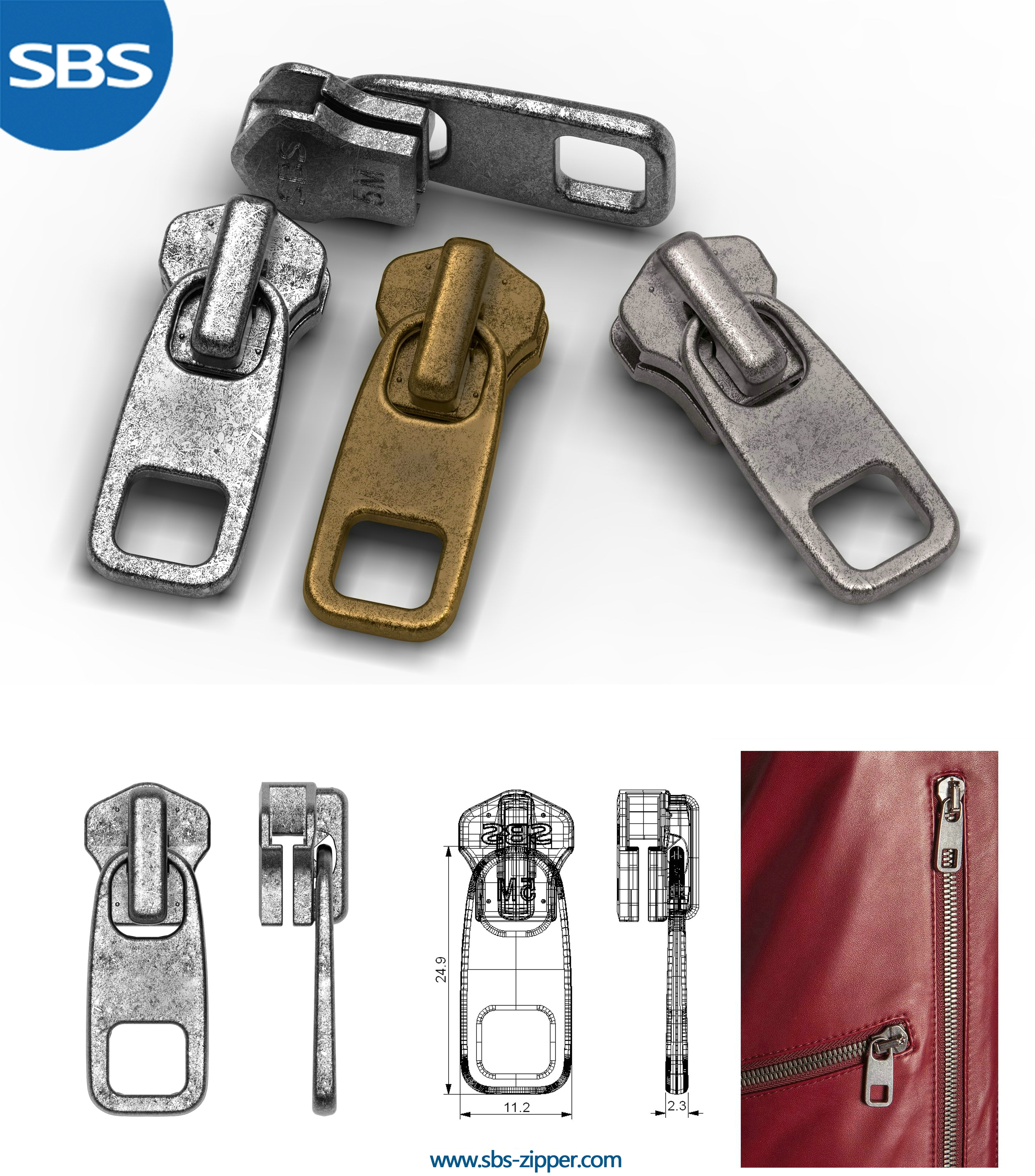 Heavy Duty Zipper Pulls Manufacturer 17SMC012 | SBS Zipper