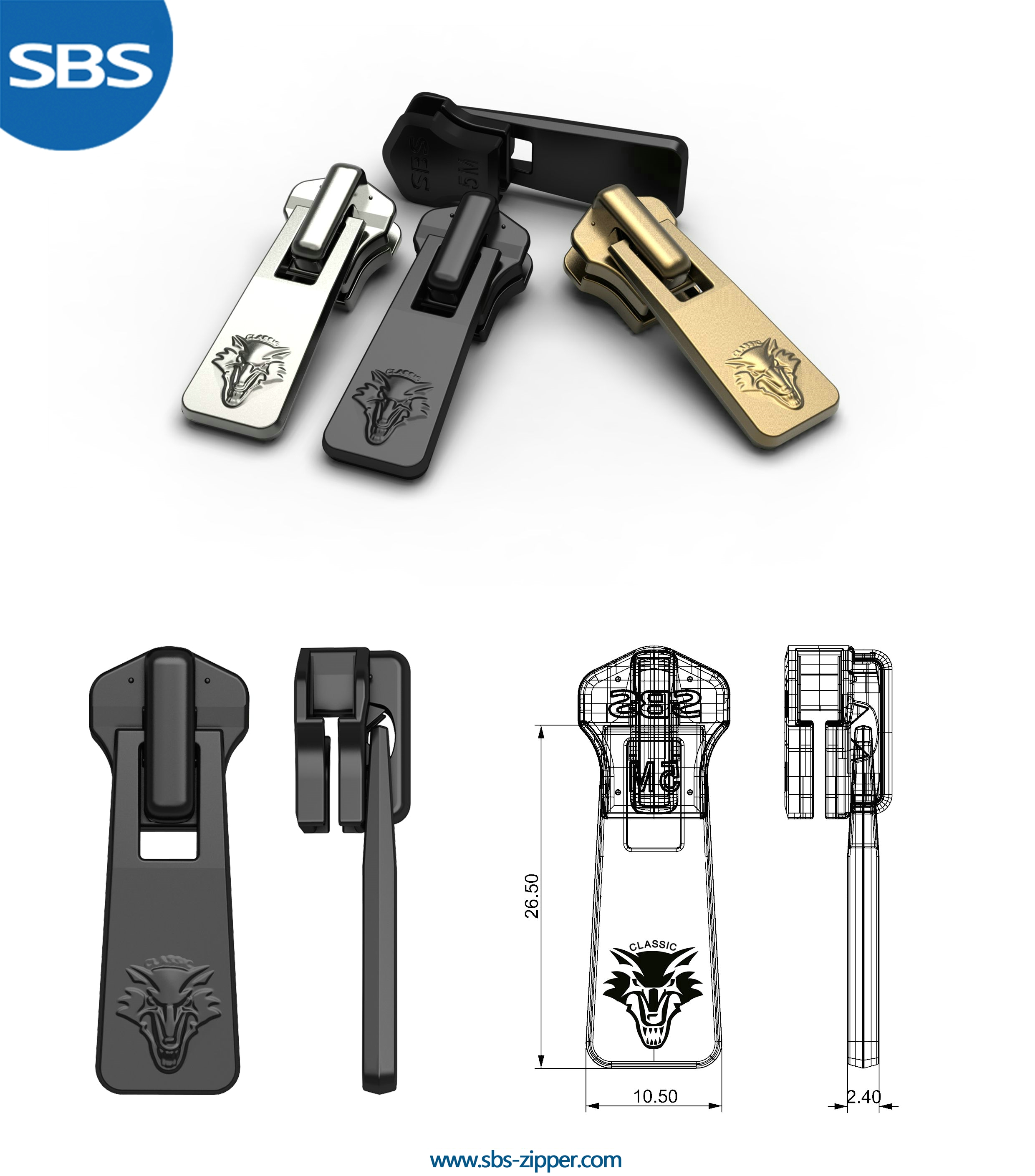Decorative zipper pulls manufacturer 17SMC029 | SBS Zipper