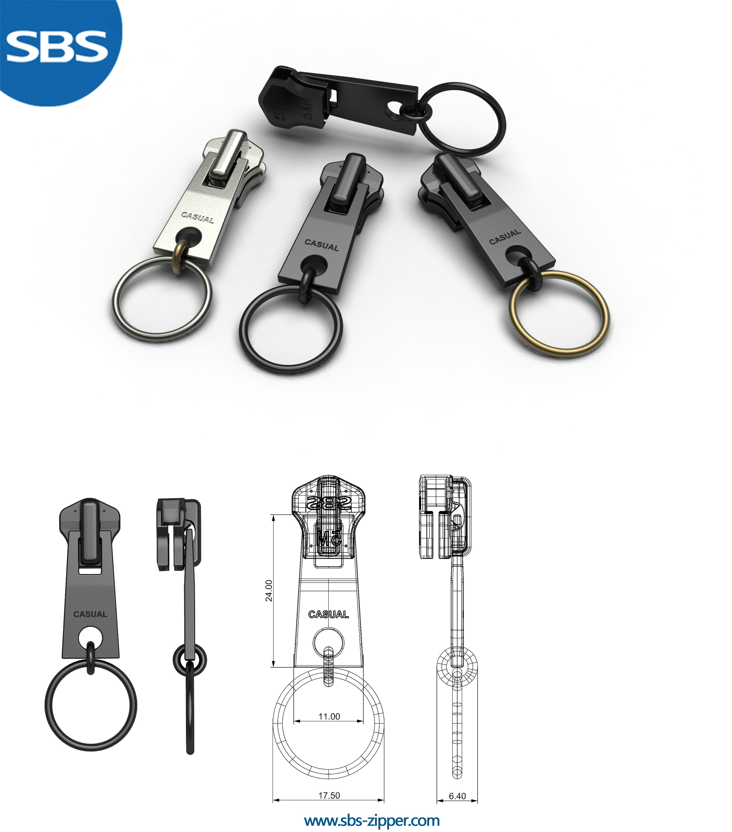 Luggage Zipper Pulls Manufacturer 17SMC030 | SBS Zipper