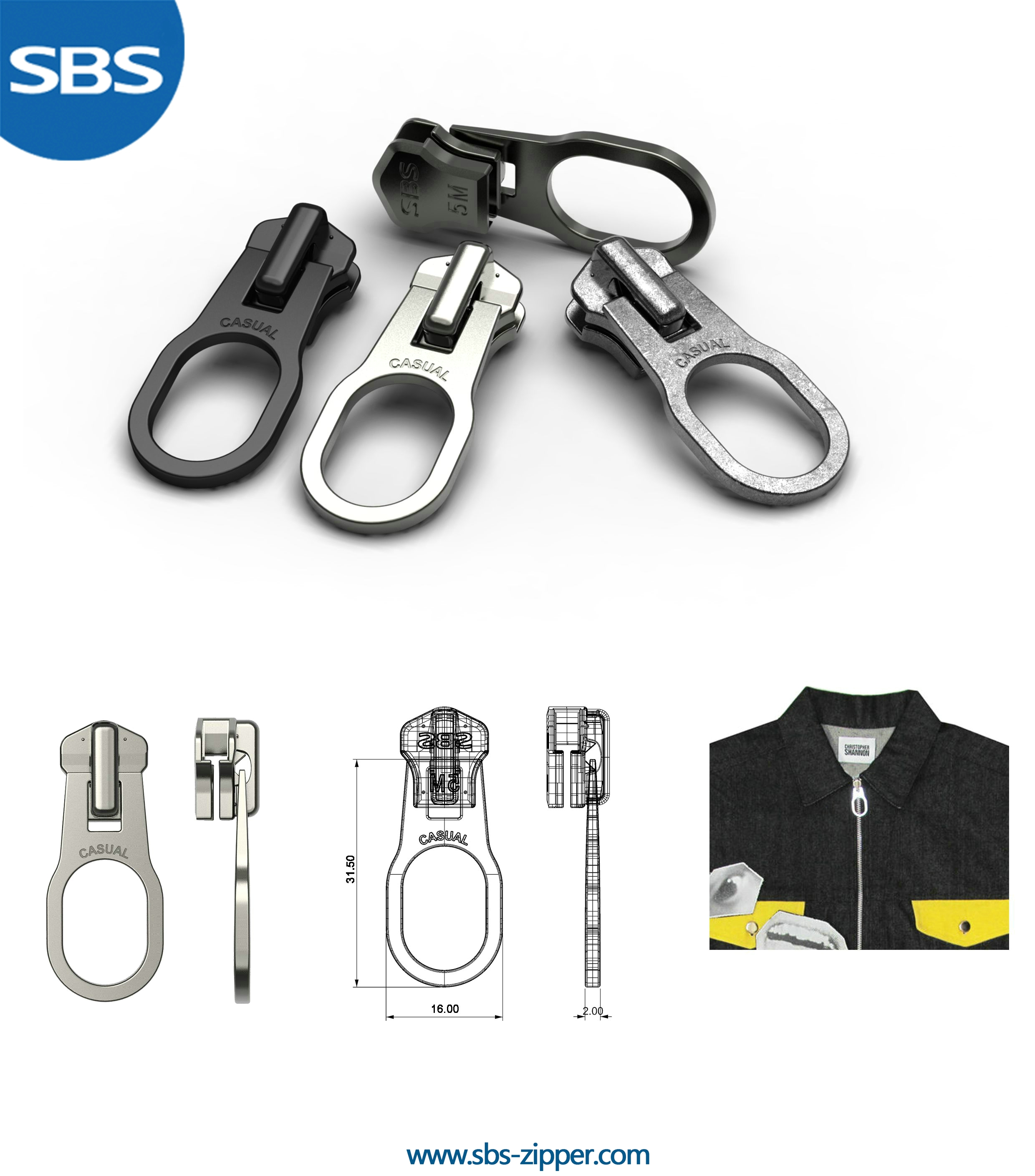 Metal Zipper Pulls Manufacturer 17SMC032 | SBS Zipper