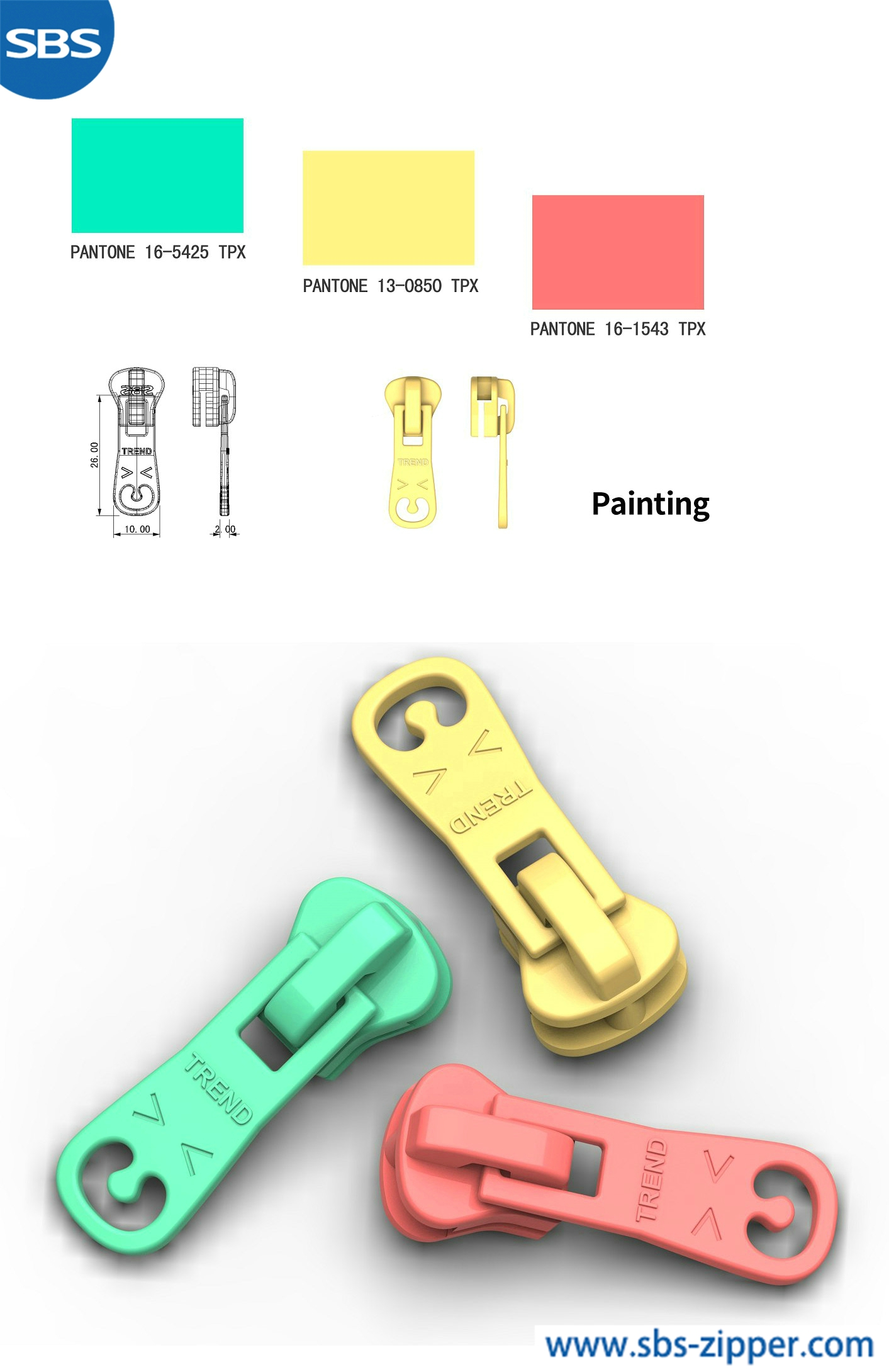 Decorative zipper pulls manufacturer 18ACC014丨sbs-zipper.com