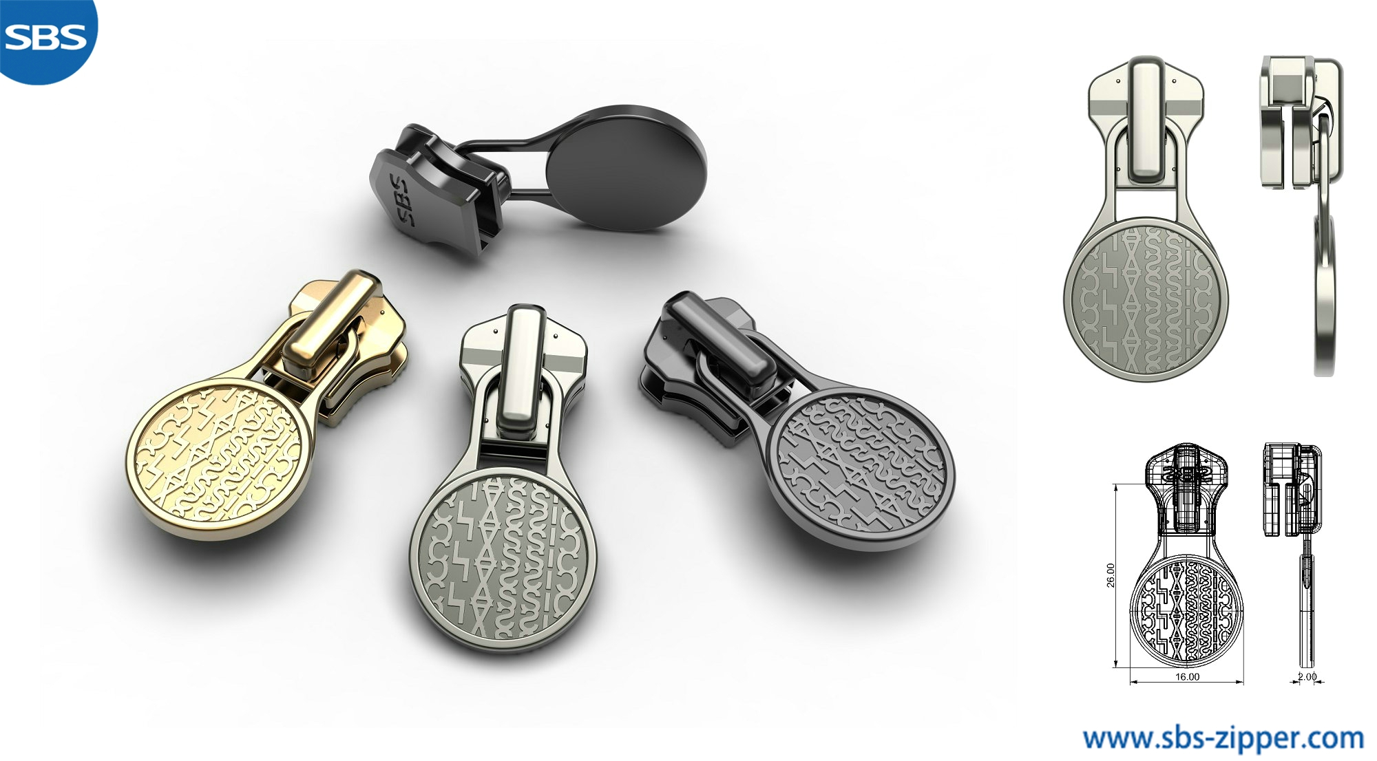 Zipper Pulls Custom Manufacturer 18AMC007丨SBS Zipper