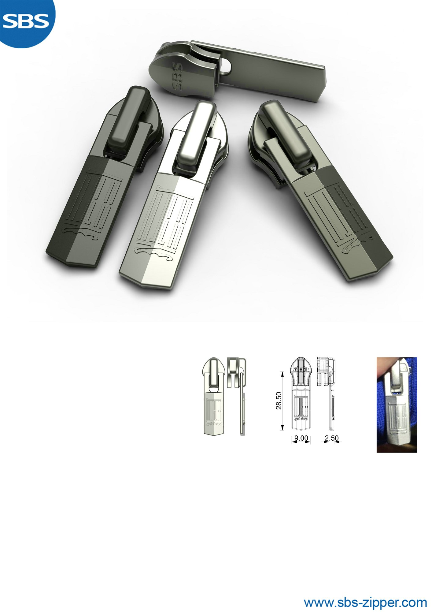 Zipper Slider Supplier 19SSO008丨SBS Zipper