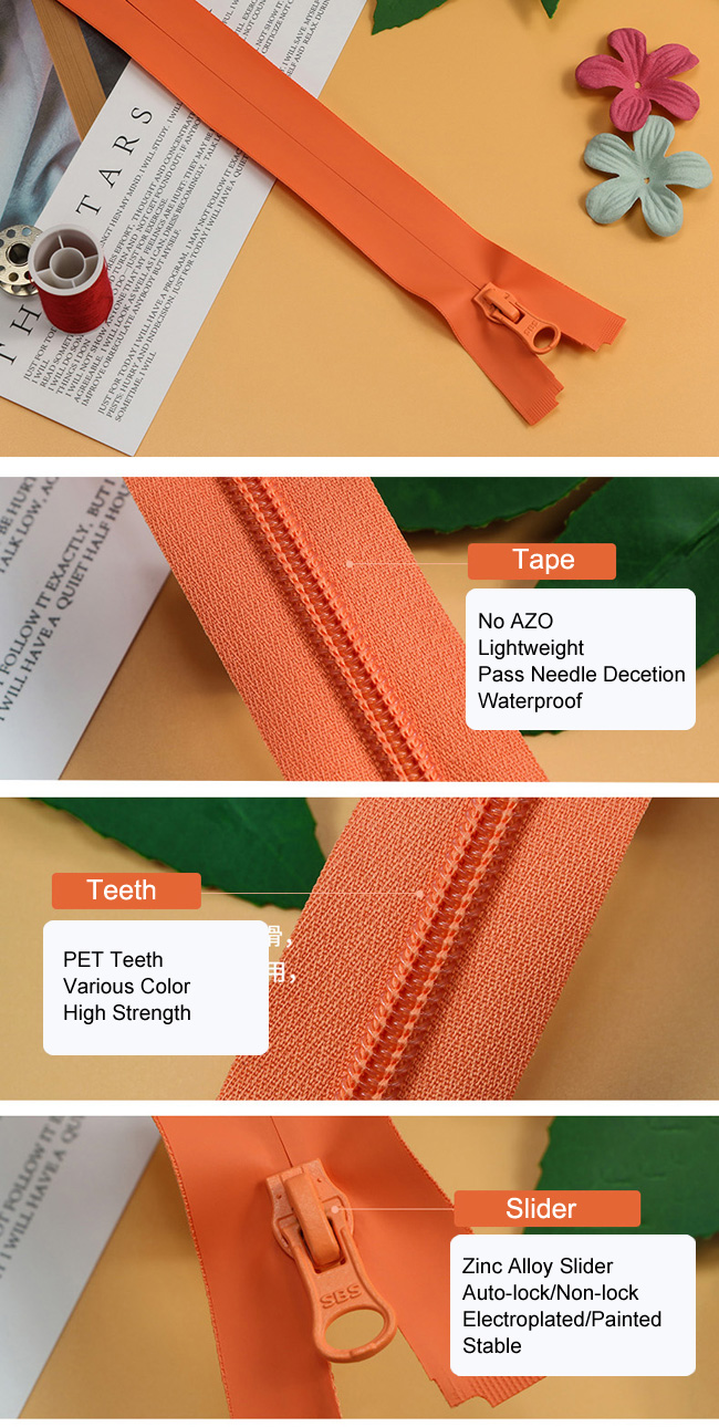 Lightweight Waterproof Coil Zipper manufacturer