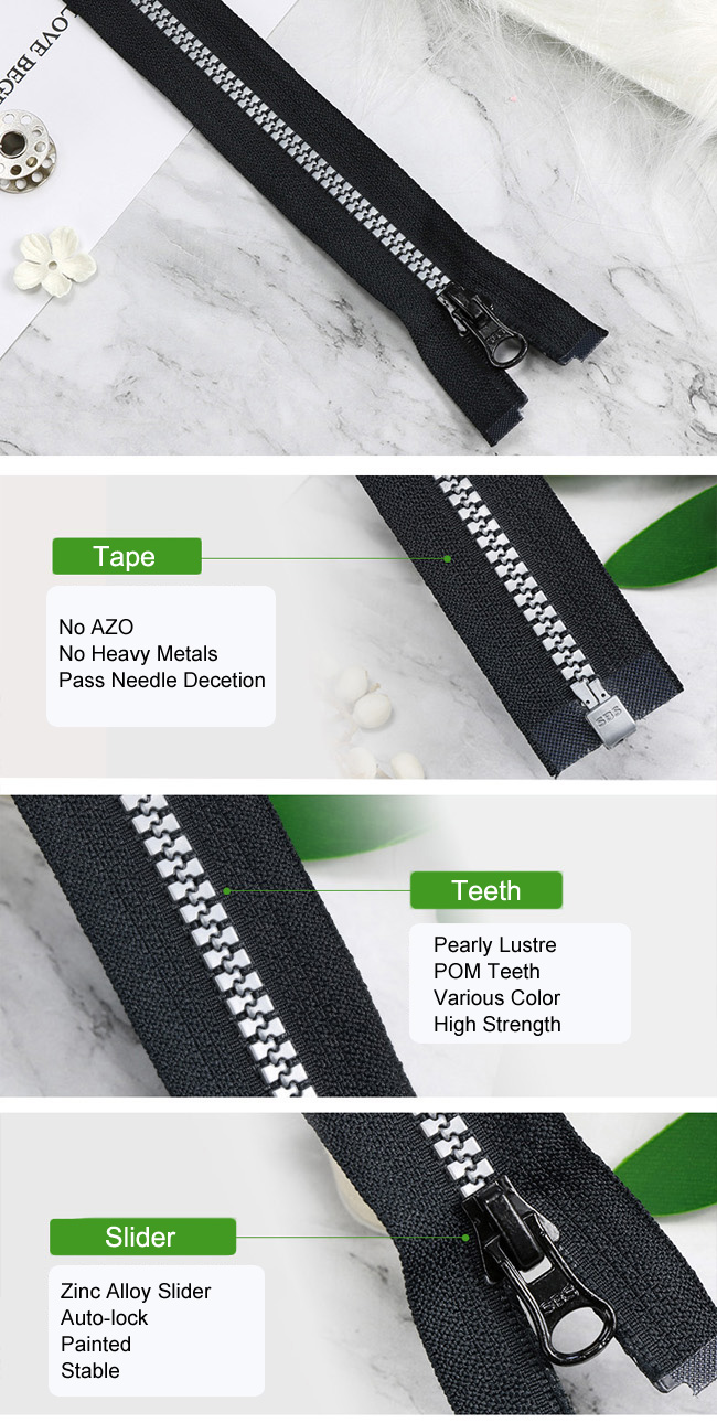 Plastic Zipper Pearly Lustre Teeth supplier